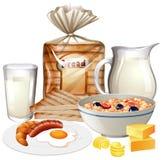Grupo de vários alimentos de café da manhã fotografia de stock