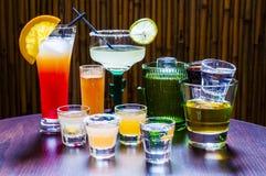 Grupo de vários cocktail do Tequila Fotografia de Stock Royalty Free