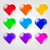 Grupo de vários corações coloridos com sparkles Imagem de Stock Royalty Free