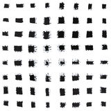 Grupo de vários cursos de tinta preta da escova de pintura da mão Imagem de Stock