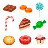 Grupo de vários doces, doces e bolos coloridos Foto de Stock