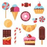 Grupo de vários doces, doces e bolos coloridos Imagem de Stock Royalty Free