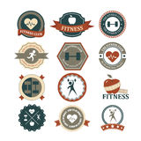 Grupo de vários esportes e gráficos e ícones da aptidão ilustração stock