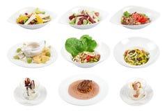 Grupo de 9 vários pratos isolados no fundo branco imagens de stock royalty free