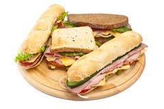 Grupo de vários sanduíches Fotografia de Stock Royalty Free