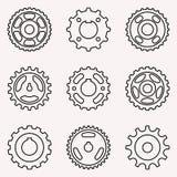Grupo de vários tipos da roda dentada Linha fina vetor Imagens de Stock