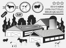Grupo de vaca superior, de cabra, de cordeiro, de peru, de etiquetas da carne na exploração agrícola, de crachás e de elementos d Fotografia de Stock Royalty Free