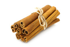 Grupo de varas de canela Fotografia de Stock Royalty Free