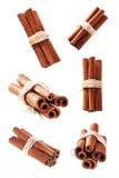 Grupo de varas de canela como uma colagem Imagem de Stock