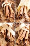 Grupo de varas de canela como uma colagem Fotografia de Stock