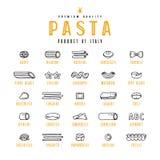 Grupo de variedades dos ícones de massa ilustração royalty free