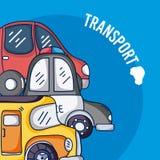 Grupo de veículos dos desenhos animados ilustração stock