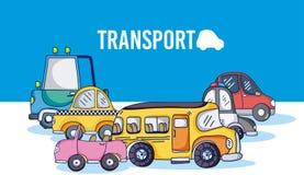 Grupo de veículos dos desenhos animados ilustração royalty free