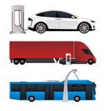 Grupo de veículos elétricos ilustração royalty free