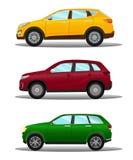 Grupo de veículos fora de estrada diferentes em três cores ilustração stock