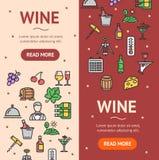 Grupo de Vecrtical da bandeira da bebida do vinho Vetor Fotografia de Stock Royalty Free