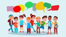 Grupo de vector de los alumnos Escuela Raza de la mezcla Burbujas de la charla Burbuja de la comunicación Trabajo en equipo lifes Imagen de archivo libre de regalías