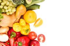 Grupo de vegetais crus frescos coloridos e de frutos Fotografia de Stock Royalty Free