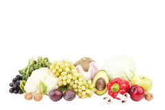 Grupo de vegetais crus frescos coloridos e de frutos Foto de Stock