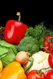 Grupo de vegetais diferentes no preto verticalmente fotografia de stock