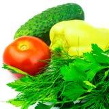 Grupo de vegetais e de ervas verdes isolados no fundo branco Foto de Stock Royalty Free