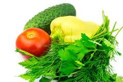 Grupo de vegetais e de ervas verdes isolados no fundo branco Imagens de Stock
