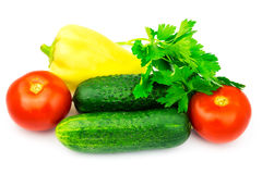 Grupo de vegetais e de ervas verdes isolados no fundo branco Imagens de Stock Royalty Free