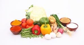 Grupo de vegetais e de especiarias Foto de Stock