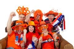 Grupo de ventiladores de fútbol holandeses fotografía de archivo libre de regalías