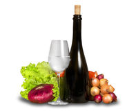Grupo de verduras con el vidrio de agua y BO Fotografía de archivo