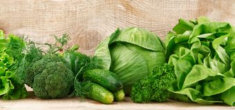 Grupo de verduras verdes Foto de archivo libre de regalías