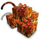 Grupo de vermelho e de cauda da fita do tigre do presente da caixa Foto de Stock Royalty Free