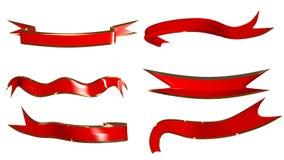 Grupo de vermelho e fitas e laços do ouro rendição 3d ilustração royalty free