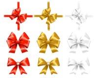 Grupo de vermelho, de ouro e de curvas do branco Imagens de Stock