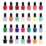 Grupo de vernizes para as unhas coloridos, ilustração do vetor Imagens de Stock