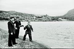 Grupo de veteranos soviéticos en Sevastopol, URSS, 1950 Imagen de archivo libre de regalías