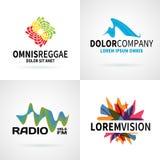 Grupo de vetor abstrato colorido moderno do emblema do logotipo ilustração stock