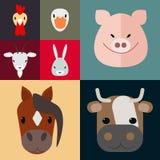 Grupo de vetor da exploração agrícola do terreiro dos animais de exploração agrícola Fotos de Stock
