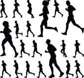 Grupo de vetor da silhueta dos corredores Imagem de Stock