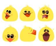 Grupo de vetor diferente dos desenhos animados dos caráteres da galinha das emoções Imagens de Stock Royalty Free