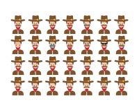Grupo de vetor do emoticon do xerife isolado no fundo branco Fotos de Stock