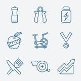 Grupo de vetor dos ícones da aptidão do curso do esboço Fotos de Stock
