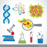 Grupo de vetor dos desenhos animados do laboratório do ícone do material da ciência Foto de Stock Royalty Free