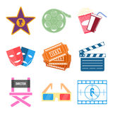 Grupo de vetor liso do projeto dos ícones do filme Fotografia de Stock
