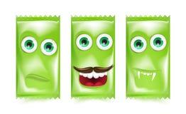 Grupo de vetor realístico verde dos doces e dos doces do Dia das Bruxas Foto de Stock Royalty Free