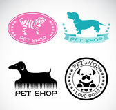 Grupo de vetor uma etiqueta da loja de animais de estimação Foto de Stock