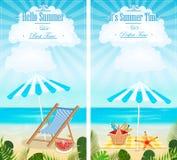 Grupo de vetor vertical das bandeiras dos seascapes das férias de verão ilustração do vetor