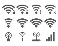 Grupo de vetor Wi-Fi e de ícones sem fio Foto de Stock Royalty Free