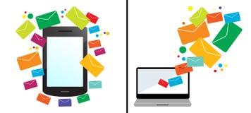 Grupo de 2 vetores do conceito do mercado do email Imagens de Stock Royalty Free