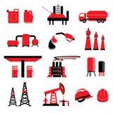Grupo de vetores e de ícones da energia do poder do petróleo e gás Fotos de Stock Royalty Free